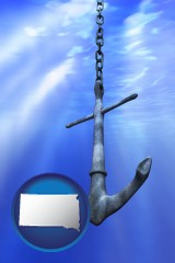 south-dakota map icon and a marine anchor