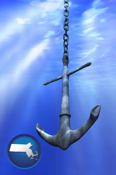 a marine anchor - with Massachusetts icon