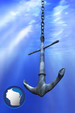 a marine anchor - with Wisconsin icon