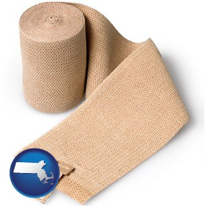 a medical bandage - with Massachusetts icon