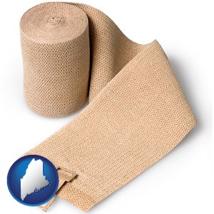 a medical bandage - with Maine icon