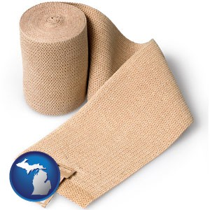 a medical bandage - with Michigan icon