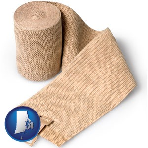 a medical bandage - with Rhode Island icon