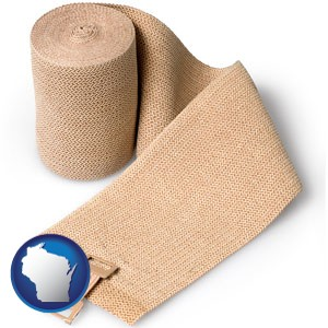 a medical bandage - with Wisconsin icon