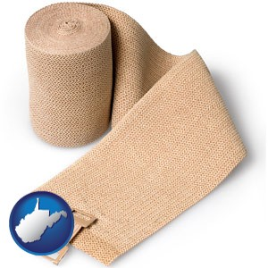 a medical bandage - with West Virginia icon