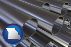 missouri map icon and metal pipes