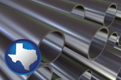 texas map icon and metal pipes