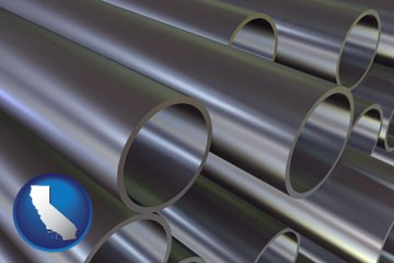metal pipes - with California icon