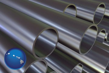 metal pipes - with Hawaii icon