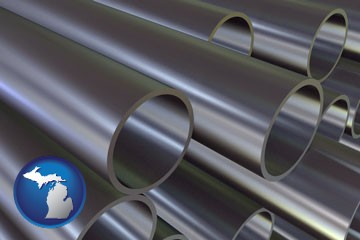 metal pipes - with Michigan icon