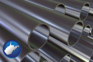 metal pipes - with West Virginia icon