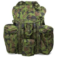 a camouflaged military backpack