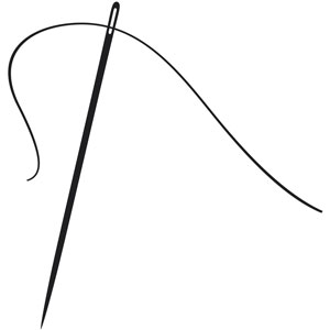 a needle and thread (black and white)