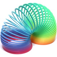 a colorful plastic slinky toy