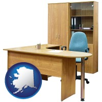 alaska office furniture (a desk, chair, bookcase, and cabinet)
