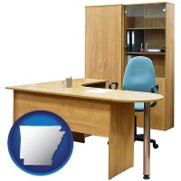 arkansas office furniture (a desk, chair, bookcase, and cabinet)