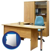 arizona office furniture (a desk, chair, bookcase, and cabinet)