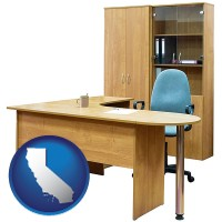 california office furniture (a desk, chair, bookcase, and cabinet)
