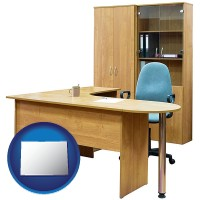 colorado office furniture (a desk, chair, bookcase, and cabinet)