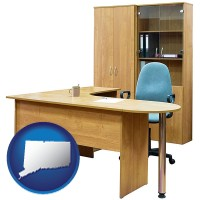 connecticut office furniture (a desk, chair, bookcase, and cabinet)