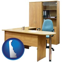 delaware office furniture (a desk, chair, bookcase, and cabinet)