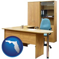 florida office furniture (a desk, chair, bookcase, and cabinet)