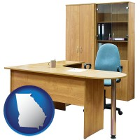 georgia office furniture (a desk, chair, bookcase, and cabinet)