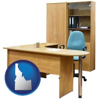 idaho map icon and office furniture (a desk, chair, bookcase, and cabinet)