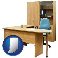 indiana office furniture (a desk, chair, bookcase, and cabinet)