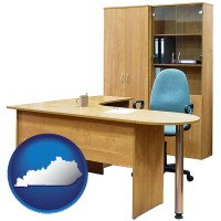 kentucky office furniture (a desk, chair, bookcase, and cabinet)
