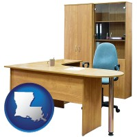 louisiana office furniture (a desk, chair, bookcase, and cabinet)