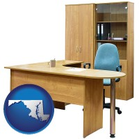 maryland office furniture (a desk, chair, bookcase, and cabinet)