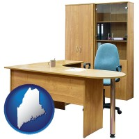 maine office furniture (a desk, chair, bookcase, and cabinet)