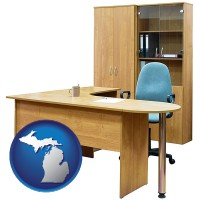 michigan office furniture (a desk, chair, bookcase, and cabinet)