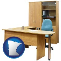 minnesota office furniture (a desk, chair, bookcase, and cabinet)