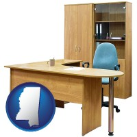 mississippi office furniture (a desk, chair, bookcase, and cabinet)