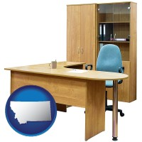 montana office furniture (a desk, chair, bookcase, and cabinet)