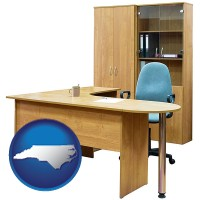 north-carolina office furniture (a desk, chair, bookcase, and cabinet)