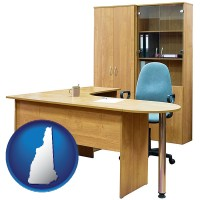 new-hampshire office furniture (a desk, chair, bookcase, and cabinet)