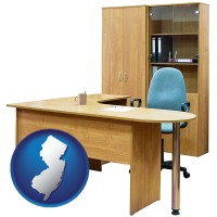 new-jersey office furniture (a desk, chair, bookcase, and cabinet)