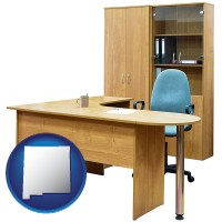 new-mexico office furniture (a desk, chair, bookcase, and cabinet)