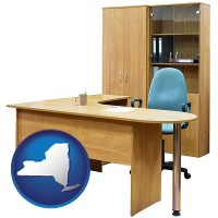 new-york office furniture (a desk, chair, bookcase, and cabinet)