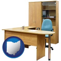 ohio office furniture (a desk, chair, bookcase, and cabinet)