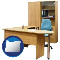 oregon office furniture (a desk, chair, bookcase, and cabinet)