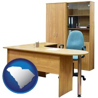 south-carolina office furniture (a desk, chair, bookcase, and cabinet)