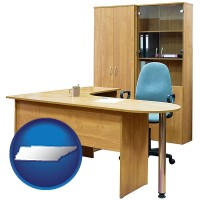 tennessee office furniture (a desk, chair, bookcase, and cabinet)