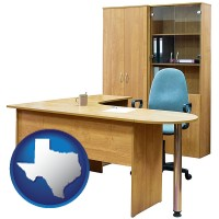 texas office furniture (a desk, chair, bookcase, and cabinet)