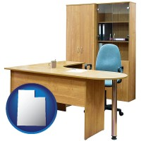 utah office furniture (a desk, chair, bookcase, and cabinet)