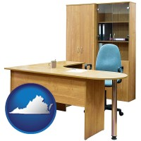 virginia map icon and office furniture (a desk, chair, bookcase, and cabinet)