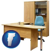 vermont office furniture (a desk, chair, bookcase, and cabinet)